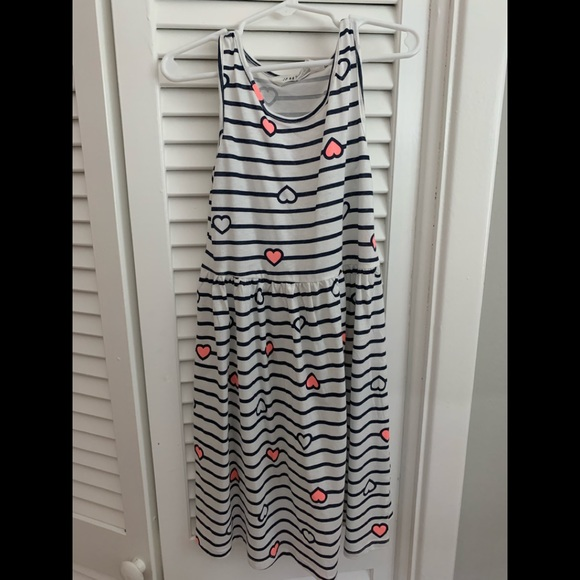 H&M Other - Girls white and navy striped dress. Size 6-8.